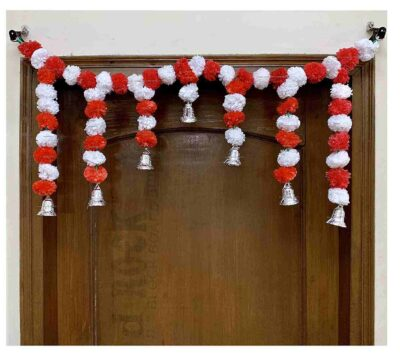 Sphinx Artificial Marigold Fluffy Flowers Small Door Toran 100 x 41 cms white & red 1