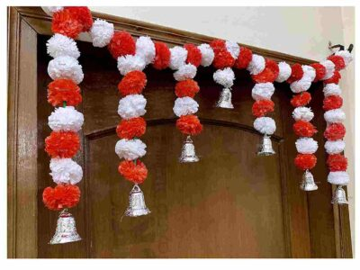 Sphinx Artificial Marigold Fluffy Flowers Small Door Toran 100 x 41 cms white & red 2