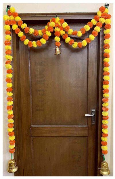 Sphinx artificial marigold fluffy flowers garlands big door toran yellow and dark orange 1