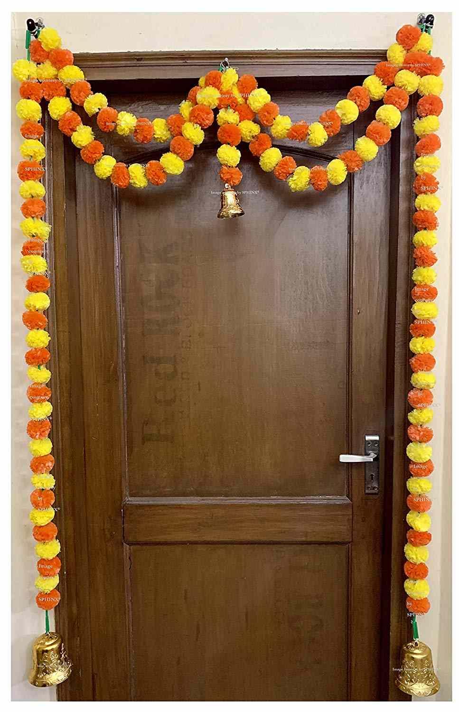 SPHINX Artificial Marigold Fluffy Flowers Garlands Door Toran Set/Door Hangings for Decoration (Approx. 100 X 152 cms)