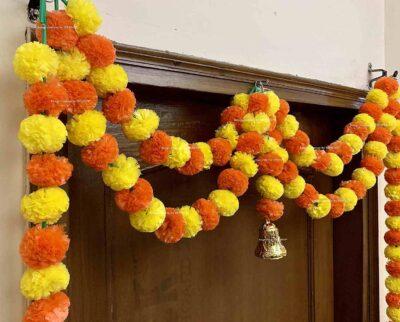 Sphinx artificial marigold fluffy flowers garlands big door toran yellow and dark orange 3