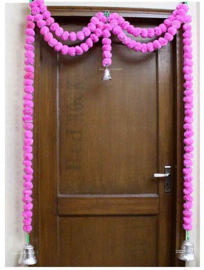 Sphinx artificial marigold fluffy flowers garlands big door toran baby pink 1