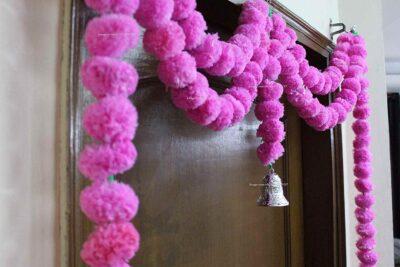 Sphinx artificial marigold fluffy flowers garlands big door toran baby pink 2