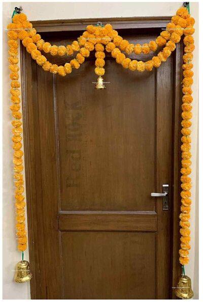 Sphinx artificial marigold fluffy flowers garlands big door toran light orange 1
