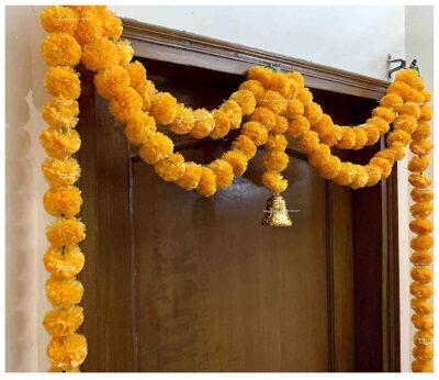 Sphinx artificial marigold fluffy flowers garlands big door toran light orange 3