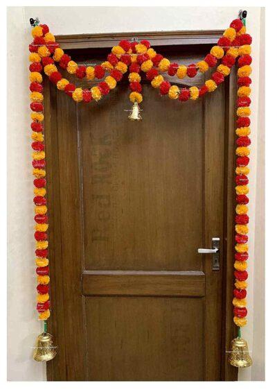 Sphinx artificial marigold fluffy flowers garlands big door toran light orange and red 1