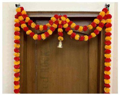 Sphinx artificial marigold fluffy flowers garlands big door toran light orange and red 2