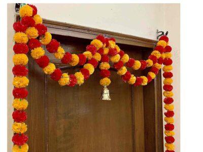 Sphinx artificial marigold fluffy flowers garlands big door toran light orange and red 3