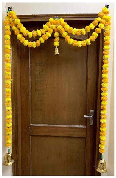 Sphinx artificial marigold fluffy flowers garlands big door toran yellow & light orange 1