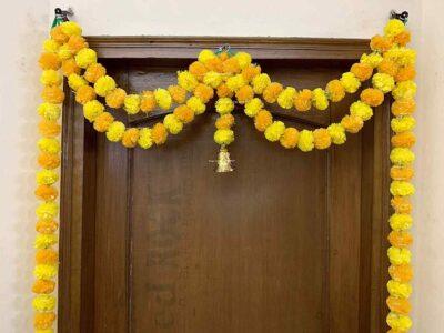 Sphinx artificial marigold fluffy flowers garlands big door toran yellow & light orange 2