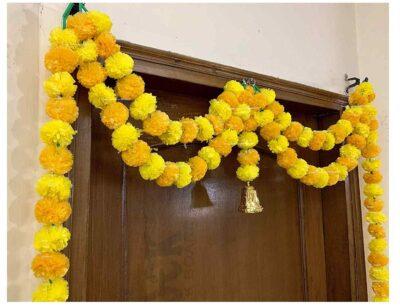 Sphinx artificial marigold fluffy flowers garlands big door toran yellow & light orange 3