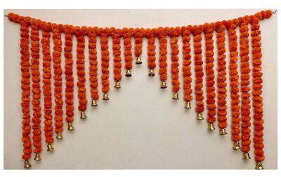 SPHINX Artificial Marigold Fluffy flowers grand entrance shamiyana mandap toran dark orange 1