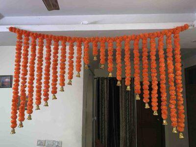 SPHINX Artificial Marigold Fluffy flowers grand entrance shamiyana mandap toran dark orange 2