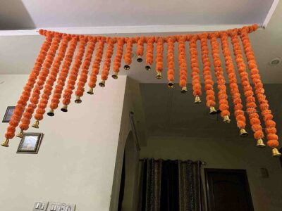SPHINX Artificial Marigold Fluffy flowers grand entrance shamiyana mandap toran dark orange 3