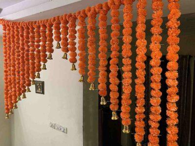 SPHINX Artificial Marigold Fluffy flowers grand entrance shamiyana mandap toran dark orange 4