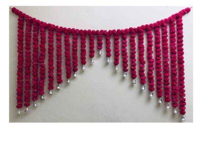 SPHINX Artificial Marigold Fluffy flowers grand entrance shamiyana mandap toran dark pink rani 1
