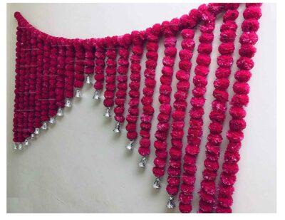 SPHINX Artificial Marigold Fluffy flowers grand entrance shamiyana mandap toran dark pink rani 2