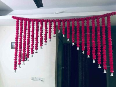 SPHINX Artificial Marigold Fluffy flowers grand entrance shamiyana mandap toran dark pink rani 3