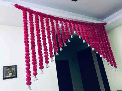 SPHINX Artificial Marigold Fluffy flowers grand entrance shamiyana mandap toran dark pink rani 4