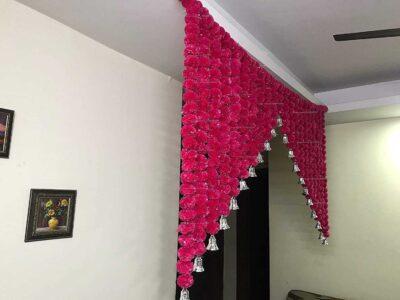 SPHINX Artificial Marigold Fluffy flowers grand entrance shamiyana mandap toran dark pink rani 5