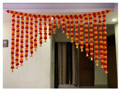 Sphinx artificial marigold fluffy flowers grand entrance shamiyana mandap toran approx 6 x 4 ft for decoration light orange and red 1