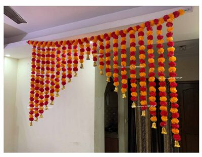 Sphinx artificial marigold fluffy flowers grand entrance shamiyana mandap toran approx 6 x 4 ft for decoration light orange and red 2
