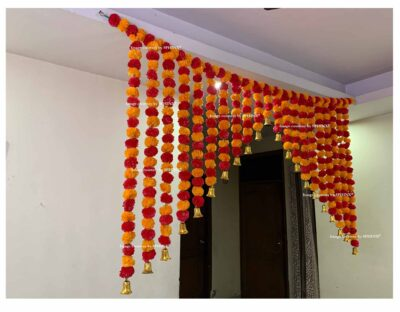 Sphinx artificial marigold fluffy flowers grand entrance shamiyana mandap toran approx 6 x 4 ft for decoration light orange and red 3