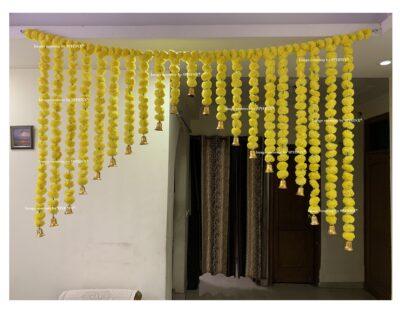 Sphinx artificial marigold fluffy flowers grand entrance shamiyana mandap toran approx 6 x 4 ft for decoration yellow 1