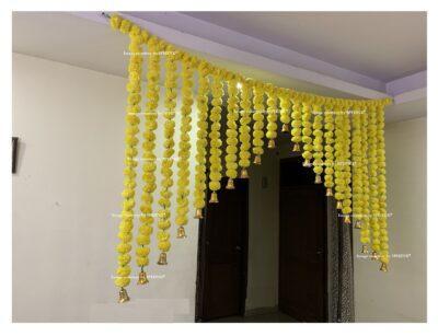 Sphinx artificial marigold fluffy flowers grand entrance shamiyana mandap toran approx 6 x 4 ft for decoration yellow 2