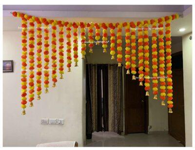 Sphinx artificial marigold fluffy flowers grand entrance shamiyana mandap toran approx 6 x 4 ft for decoration yellow and dark orange 1