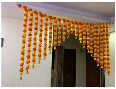Sphinx artificial marigold fluffy flowers grand entrance shamiyana mandap toran approx 6 x 4 ft for decoration yellow and dark orange 2