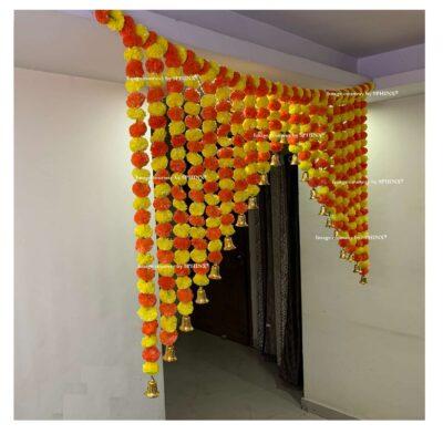 Sphinx artificial marigold fluffy flowers grand entrance shamiyana mandap toran approx 6 x 4 ft for decoration yellow and dark orange 3