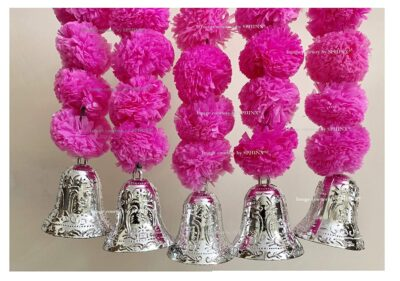 SPHINX Artificial Marigold Fluffy Flowers and Golden Silver Hanging Bells Short Garlands Latkans for Decoration Approx 1.2 ft Pack of 5 Strings baby pink 2