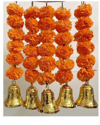 SPHINX Artificial Marigold Fluffy Flowers and Golden Silver Hanging Bells Short Garlands Latkans for Decoration Approx 1.2 ft Pack of 5 Strings dark orange 1