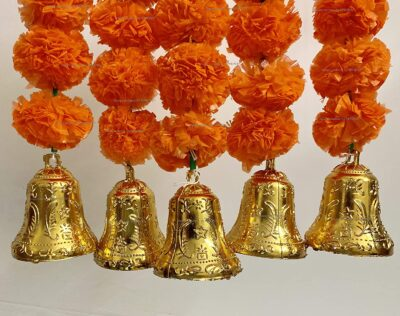 SPHINX Artificial Marigold Fluffy Flowers and Golden Silver Hanging Bells Short Garlands Latkans for Decoration Approx 1.2 ft Pack of 5 Strings dark orange 2