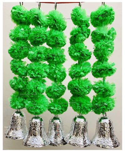 SPHINX Artificial Marigold Fluffy Flowers and Golden Silver Hanging Bells Short Garlands Latkans for Decoration Approx 1.2 ft Pack of 5 Strings green 1