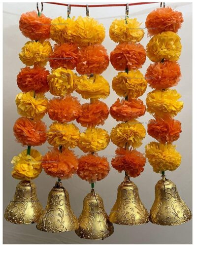 SPHINX Artificial Marigold Fluffy Flowers and Golden Silver Hanging Bells Short Garlands Latkans for Decoration Approx 1.2 ft Pack of 5 Strings light and dark orange 1