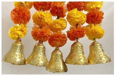 SPHINX Artificial Marigold Fluffy Flowers and Golden Silver Hanging Bells Short Garlands Latkans for Decoration Approx 1.2 ft Pack of 5 Strings light and dark orange 2
