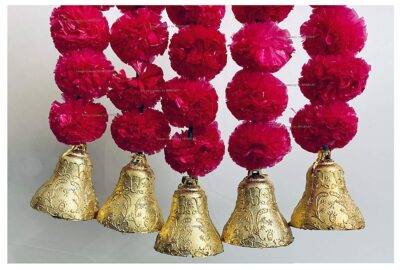 SPHINX Artificial Marigold Fluffy Flowers and Golden Silver Hanging Bells Short Garlands Latkans for Decoration Approx 1.2 ft Pack of 5 Strings rani dark pink 2