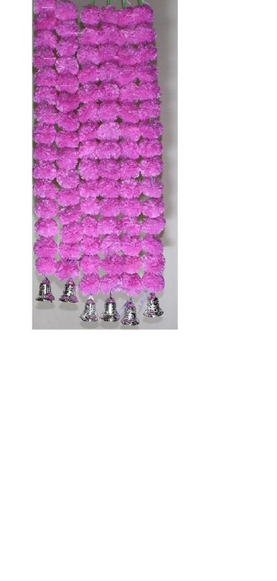 Sphinx artificial marigold fluffy flowers with golden silver bells 2.5 ft strings garlands baby pink 1