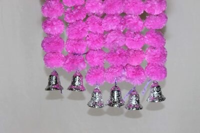 Sphinx artificial marigold fluffy flowers with golden silver bells 2.5 ft strings garlands baby pink 2
