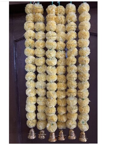 Sphinx artificial marigold fluffy flowers with golden silver bells 2.5 ft strings garlands cream 1