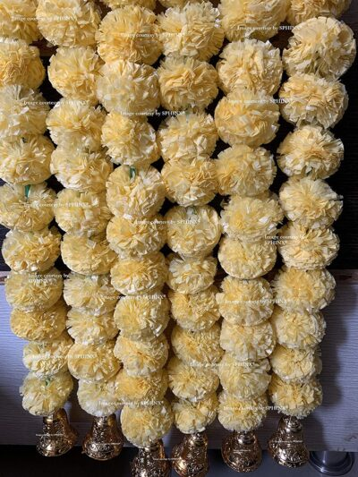 Sphinx artificial marigold fluffy flowers with golden silver bells 2.5 ft strings garlands cream 2