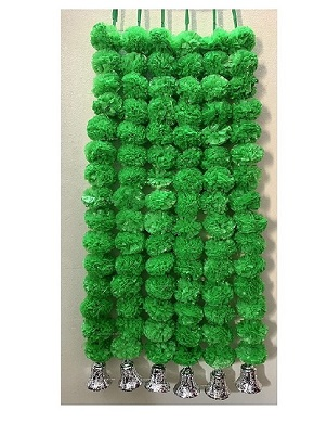 Sphinx artificial marigold fluffy flowers with golden silver bells 2.5 ft strings garlands green 1