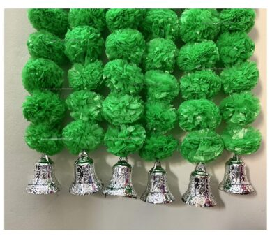 Sphinx artificial marigold fluffy flowers with golden silver bells 2.5 ft strings garlands green 2