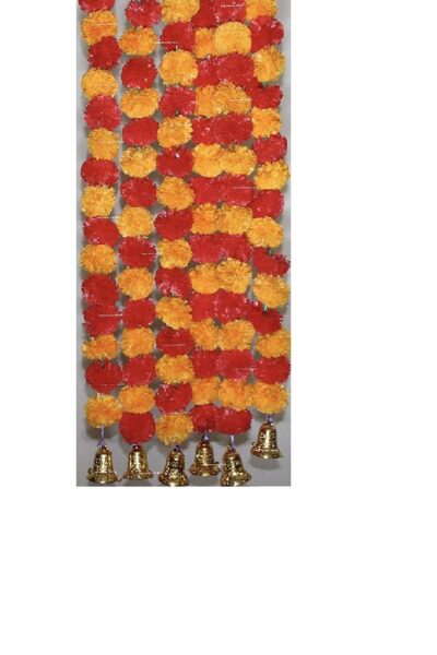 Sphinx artificial marigold fluffy flowers with golden silver bells 2.5 ft strings garlands light orange and red 1