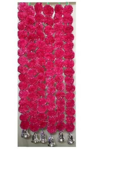 Sphinx artificial marigold fluffy flowers with golden silver bells 2.5 ft strings garlands rani dark pink 1