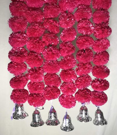 Sphinx artificial marigold fluffy flowers with golden silver bells 2.5 ft strings garlands rani dark pink 2