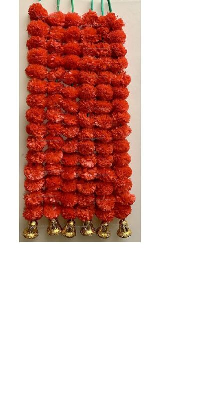 Sphinx-artificial-marigold-fluffy-flowers-with-golden-silver-bells-2.5-ft-strings-garlands-red-1