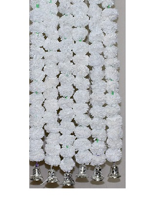 Sphinx artificial marigold fluffy flowers with golden silver bells 2.5 ft strings garlands white 1